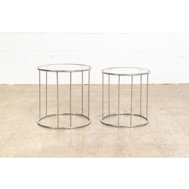 Milo Baughman Mid Century Baughman Style Chrome & Glass Nesting Side Tables For Sale - Image 4 of 11