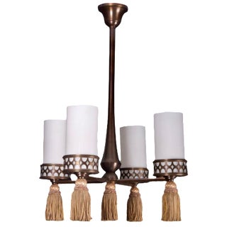French Bronze Four Light Fixture Chandelier with Silk Tassels For Sale