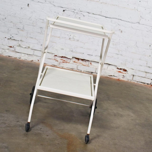 Metal Mid Century Modern Samsonite Tiered Patio Drink Cart of Fiberglass and Enameled Steel Tube in White For Sale - Image 7 of 13