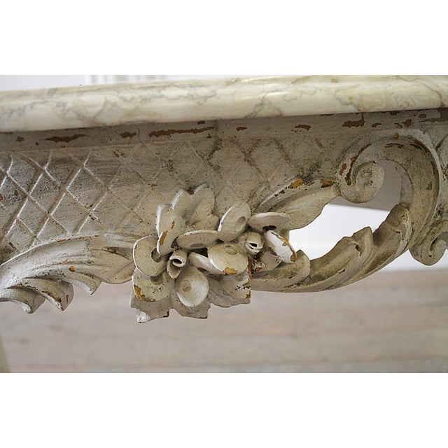 Marble 20th Century French Carved Console Table With Marble Top For Sale - Image 7 of 13