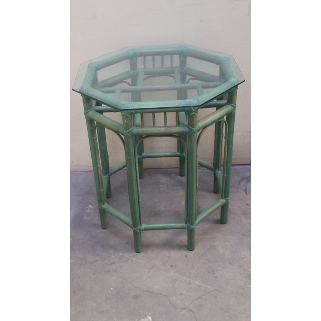 1950s Vintage Pastel Green Tinted Bamboo Side Table For Sale - Image 4 of 4