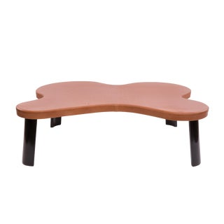 1960s Mid-Century Modern Leather & Ebonized Cocktail Table For Sale