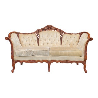 Victorian Carved Wood Ivory Loveseat For Sale