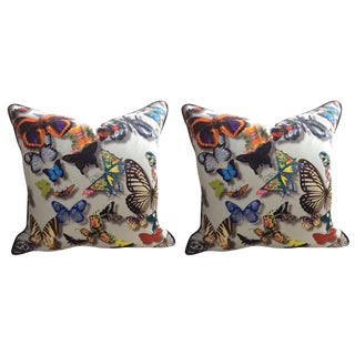 "Designer's Guild Christian Lacroix' ""Butterfly Parade"" in Daim Pillows - a Pair For Sale"