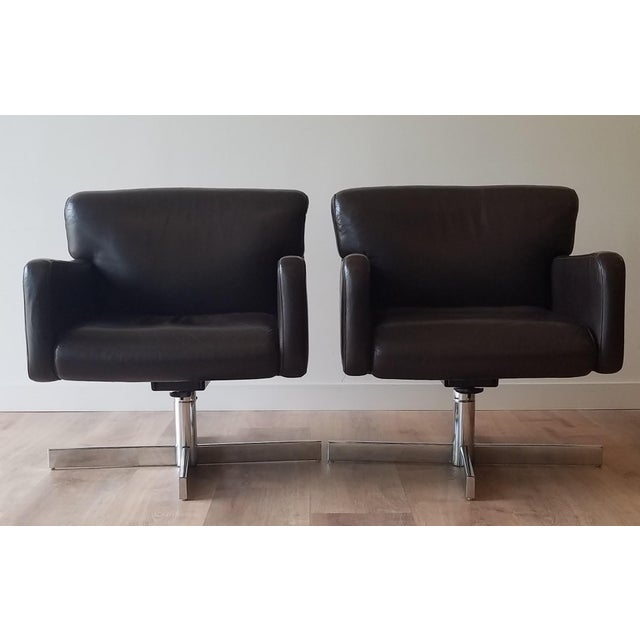 1980s Leather Swivel Reclining Chairs - a Pair For Sale - Image 12 of 12