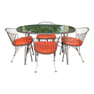 Mid Century Modern Woodard Klismos Patio Chairs & Pinecrest Table- Set of 4 For Sale