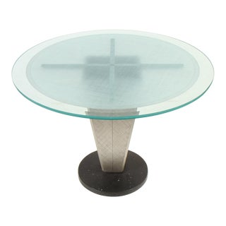 Artisan Granite Aluminum and Etched Glass Dining Table For Sale