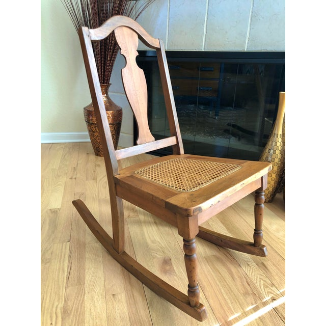 Late 19th Century Antique Cochran Chair Company Maple Wood Fiddle Back Childs Rocking Chair