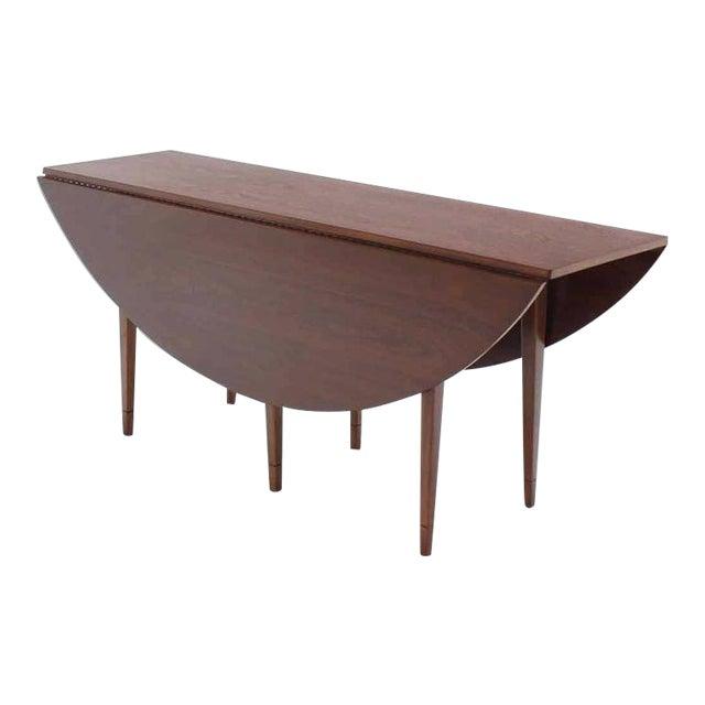20th Century Danish Modern Drop Leaf Walnut Dining Table For Sale