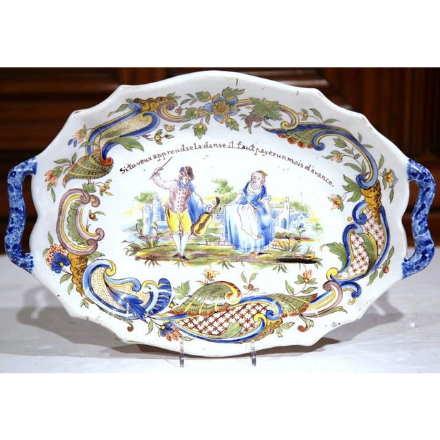 French 19th Century Hand Painted Oval Platter For Sale - Image 3 of 8