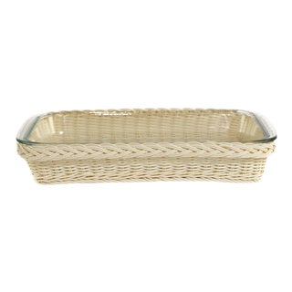 Medium Rectangular Glass Dish in Faux Rattan For Sale