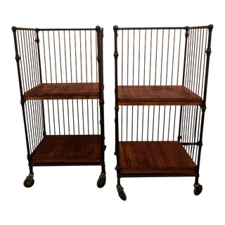 1900s American Industrial Factory Carts - A Pair For Sale