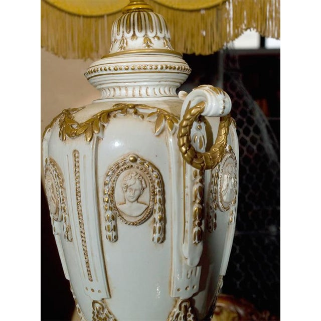 Ornate White Ceramic Lamps on Bronze Base - A Pair For Sale - Image 5 of 9
