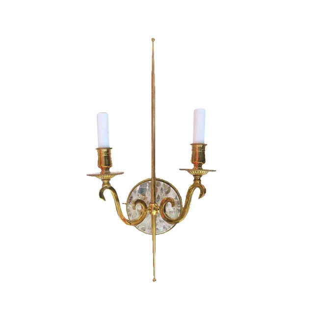 High Style Double Arm Wall Sconce with Solid Brass and Rock Crystal Stone For Sale