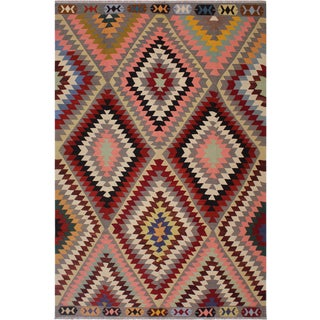 Navajo Style Hand-Woven Kilim Wool Rug - 8′5″ × 9′10″ For Sale