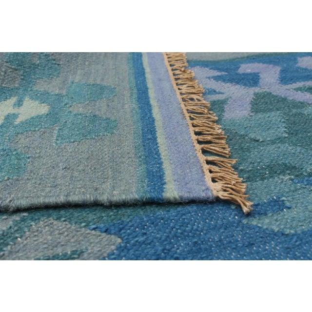Vintage Turkish Blue and Beige Boho Chic Kilim Rug - 8′ × 10′ - Image 4 of 5