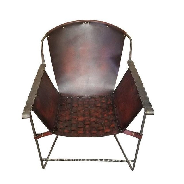 Brown Custom Steel and Leather Hand-Forged Black and Brown Handmade Sling Chairs - a Pair For Sale - Image 8 of 12