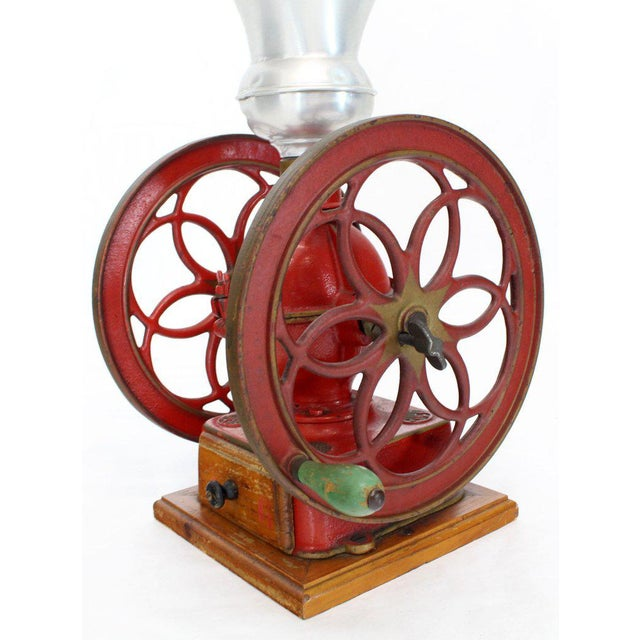 Mid 20th Century Large Antique Double Cast Iron Wheel Coffee Grinder Fire Red Very Clean For Sale - Image 5 of 12