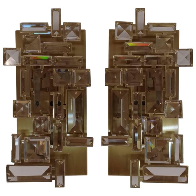 Pair of Brass and Hand-Cut Crystal Sconces For Sale - Image 11 of 11