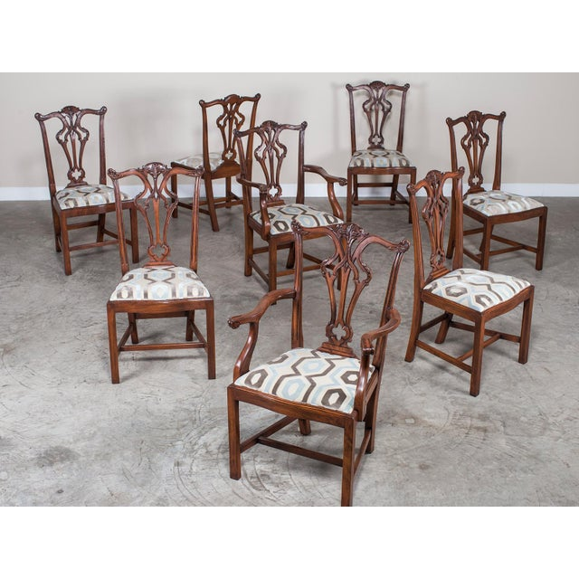 Set Eight George III Chippendale Style Mahogany Dining Chairs, Custom Stain Finish, England - Image 2 of 9