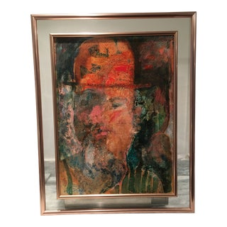 Mid-Century Modern Portrait Painting Signed Meyer Uranovsky, 1986 For Sale