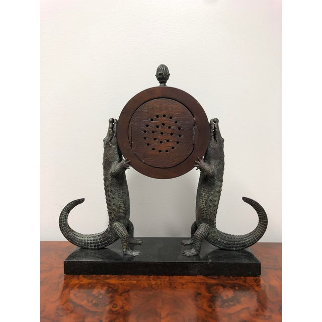 Maitland Smith Bronze and Marble Chiming Alligator Mantle Clock For Sale - Image 10 of 13