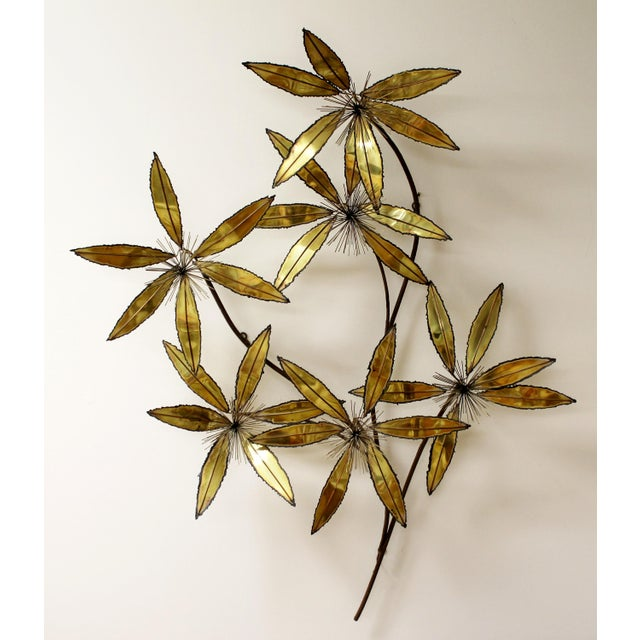 Curtis Jere Contemporary Modern Rare Curtis Jere Brass Wall Sculpture Flowers Pom Pom For Sale - Image 4 of 9