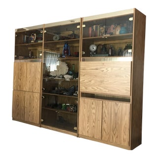 Danish Modern Oak Laminate Three Piece Lighted Wall Unit For Sale
