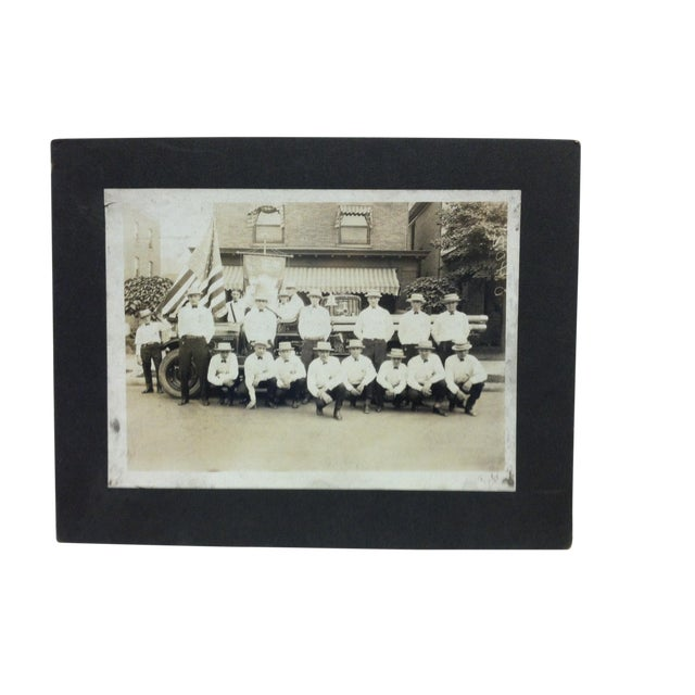 "Early 20th Century Antique ""Fireman of Port Vue, Pa"" Mounted Black & White Photograph For Sale"