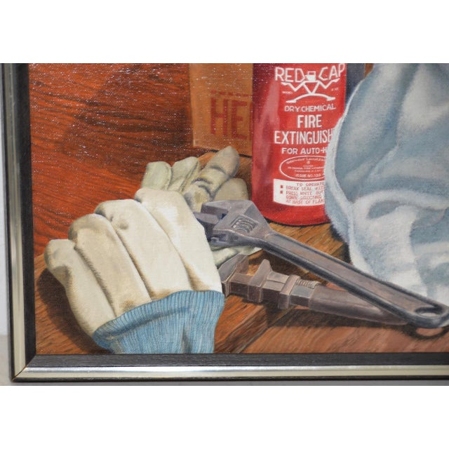 """John T. Axton III (1922-2009) """"Work Bench"""" Original Realism Still Life Oil Painting For Sale - Image 4 of 8"""