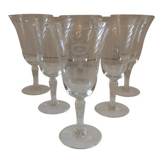 Late 20th Century Crystal Etched Wine Glasses - Set of 6 For Sale
