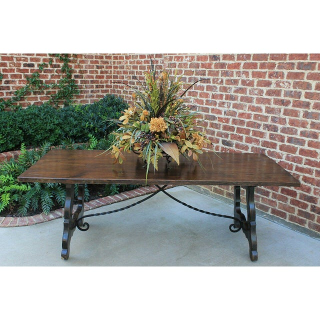 Brown Antique French Spanish Oak 19th Century Mission Catalan Style Farmhouse Dining Table Desk For Sale - Image 8 of 13