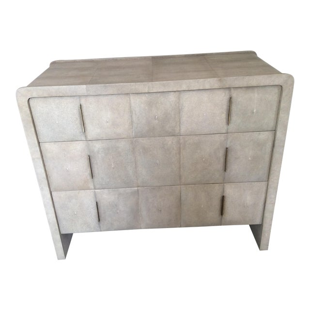 R & Y Augousti Natural Shagreen 3-Drawer Commode For Sale