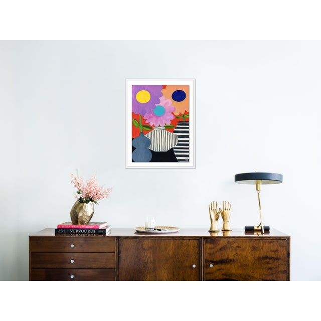 Contemporary Big Flowers by Jelly Chen in White Framed Paper, Medium Art Print For Sale - Image 3 of 4