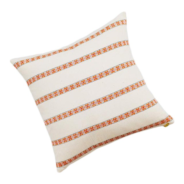 Asima Organic Cotton Handwoven Pillow 18x18 With Insert For Sale