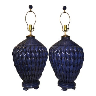 1980s Vintage Cobalt Blue Woven Wicker Ginger Jar Form Lamps - a Pair For Sale