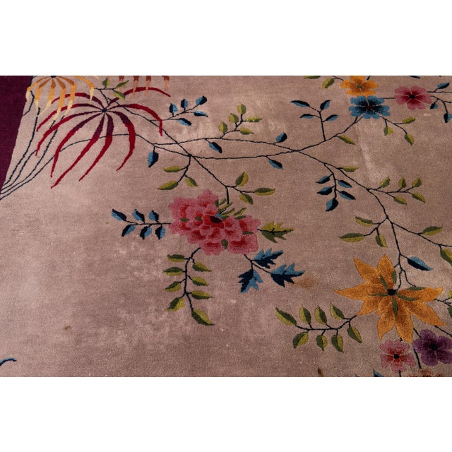 Early 20th Century Antique Art Deco Chinese Wool Rug For Sale In New York - Image 6 of 8