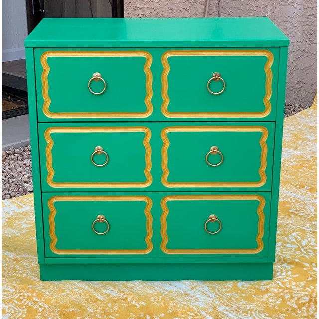 Metal Vintage Mid Century Dorothy Draper Style Three Drawer Chest For Sale - Image 7 of 7