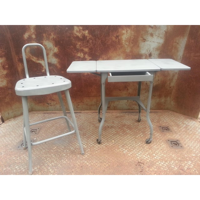 Industrial Drop Leaf Desk & Stool- A Pair For Sale In Dallas - Image 6 of 8