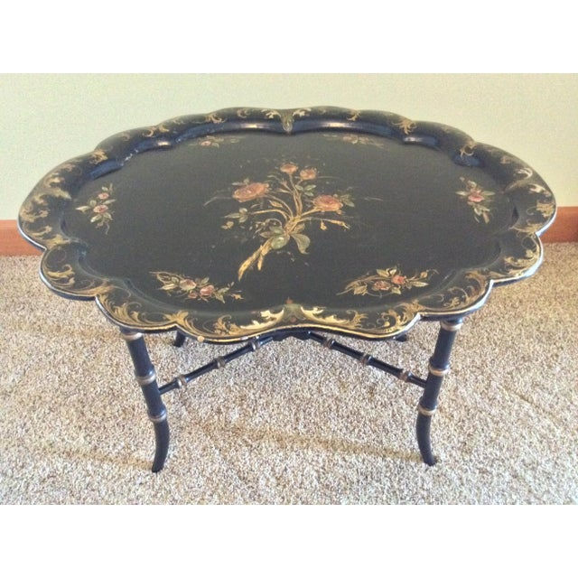 Late 19th Century Antique Chinoiserie Faux Bamboo Paper Mache Table With Mother of Pearl Inlay After Jennens and Betridge For Sale - Image 11 of 11