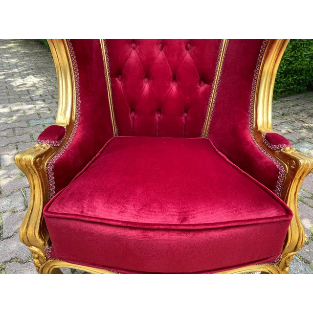 Red French Dark Red Tufted Throne Children Size Balloon Chair. For Sale - Image 8 of 10