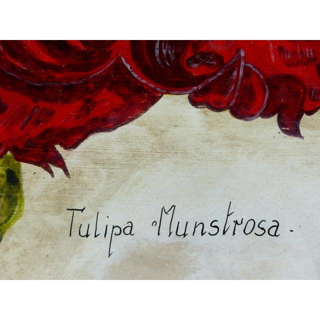 Vintage Red Tulip Flower Original Painting For Sale - Image 5 of 8