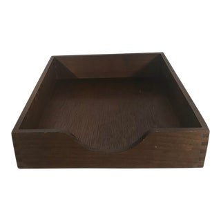 Vintage Wooden Desk Tray - in and Out Box For Sale