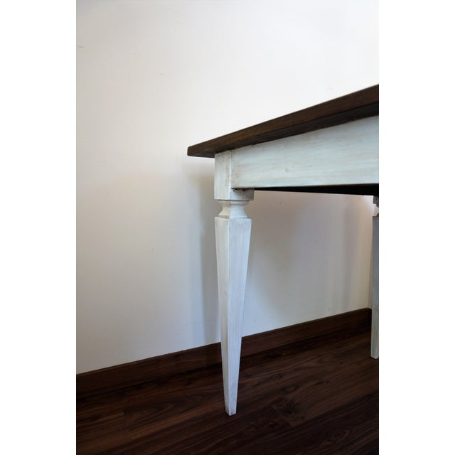 Wood 20th French painted dining farm table For Sale - Image 7 of 9
