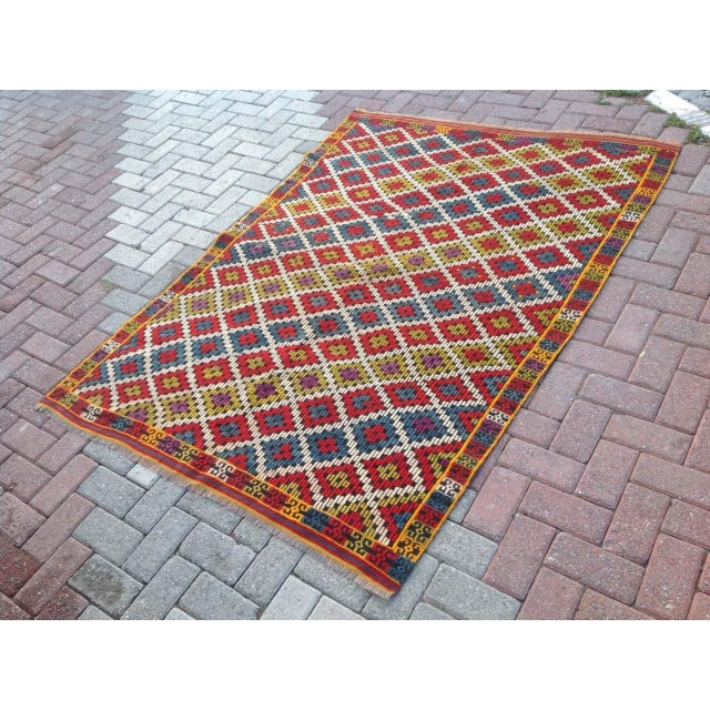 Islamic Vintage Turkish Kilim Rug - 4′6″ × 6′5″ For Sale - Image 3 of 6