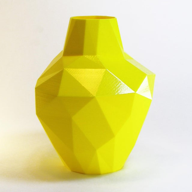 Redux Polygon Accent Vase, Electric Yellow - Image 2 of 4
