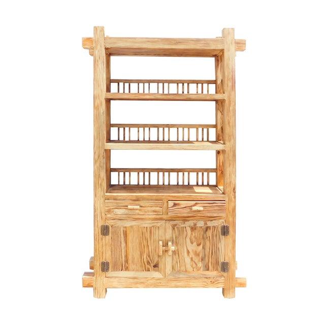 Rustic Raw Wood Open Shelf Bookcase - Image 1 of 6