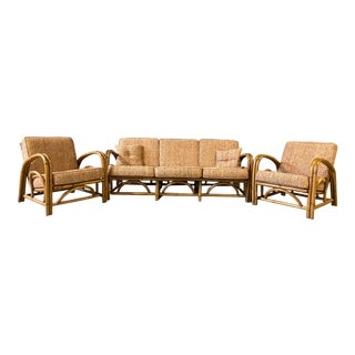 Vintage Paul Frankl Style Rattan Couch & Chairs For Sale