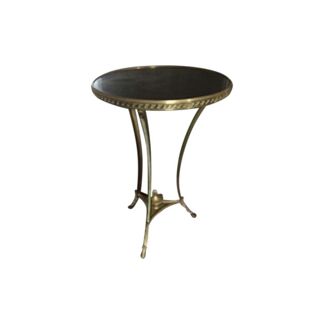 Brass & Marble Gueridon Side Table - Image 1 of 6