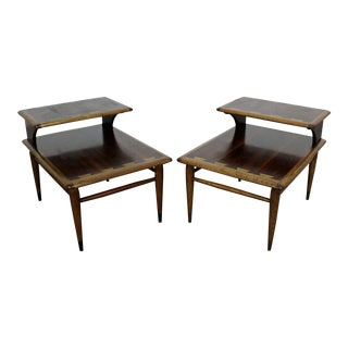 Pair of Mid-Century Danish Modern Andre Bus Lane Acclaim 2-Tier End Tables For Sale